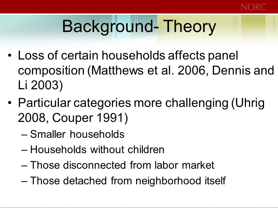 Background- Theory Loss of certain households affects panel composition (Matthews et al.