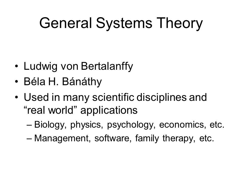 General Systems Theory Ludwig von Bertalanffy Béla H.