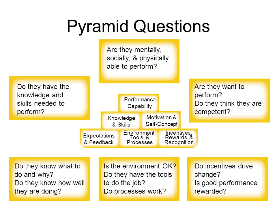 Pyramid Questions Performance Capability Knowledge & Skills Motivation & Self-Concept Expectations & Feedback Environment, Tools, & Processes Incentives, Rewards, & Recognition Are they mentally, socially, & physically able to perform.