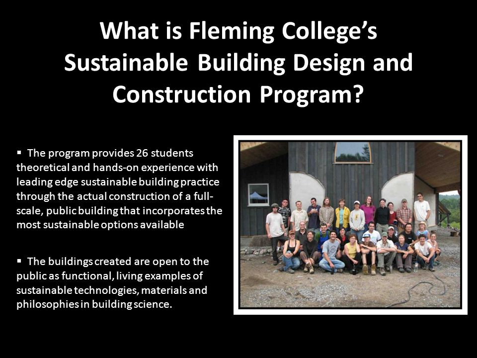 What is Fleming College's Sustainable Building Design and Construction Program.