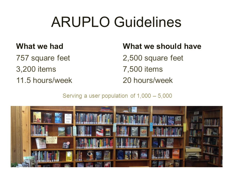 ARUPLO Guidelines What we had 757 square feet 3,200 items 11.5 hours/week What we should have 2,500 square feet 7,500 items 20 hours/week Serving a user population of 1,000 – 5,000