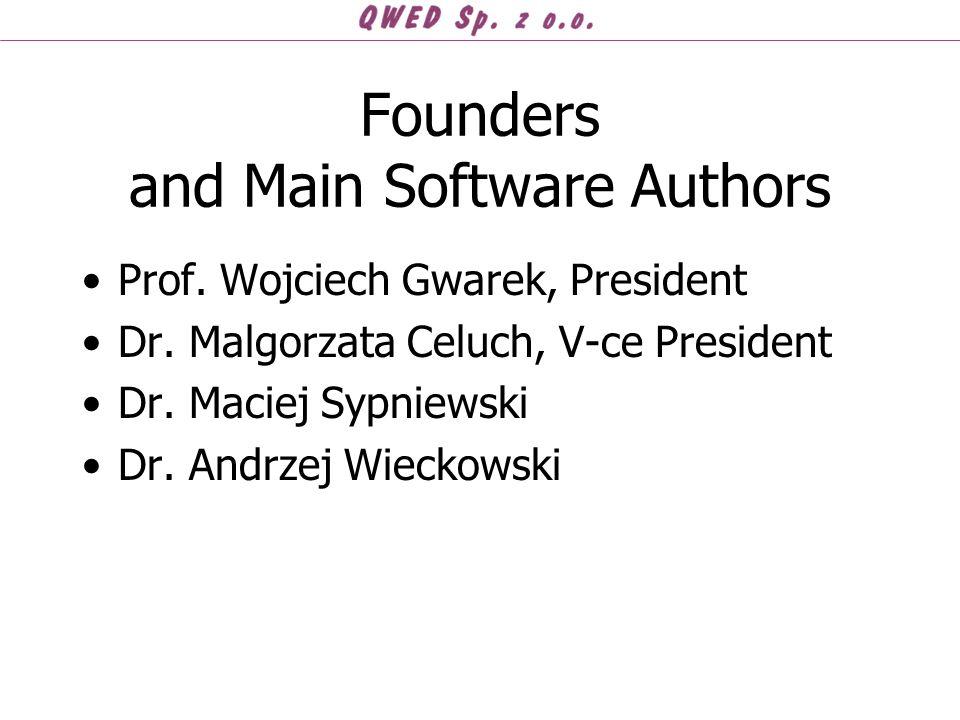 Founders and Main Software Authors Prof. Wojciech Gwarek, President Dr. Malgorzata Celuch, V-ce President Dr. Maciej Sypniewski Dr. Andrzej Wieckowski