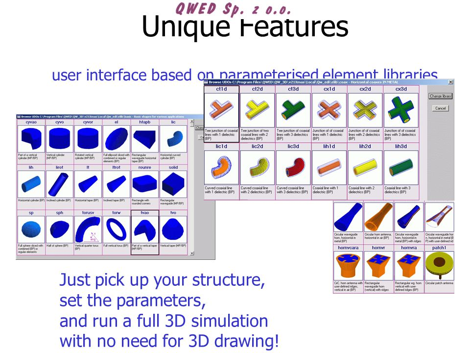 Unique Features user interface based on parameterised element libraries Just pick up your structure, set the parameters, and run a full 3D simulation with no need for 3D drawing!