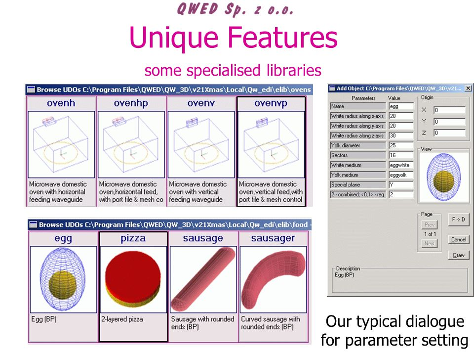 Unique Features some specialised libraries Our typical dialogue for parameter setting
