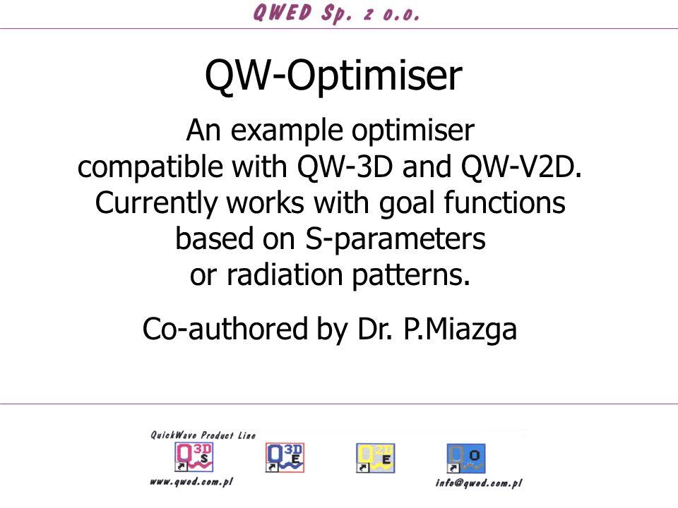 QW-Optimiser An example optimiser compatible with QW-3D and QW-V2D.