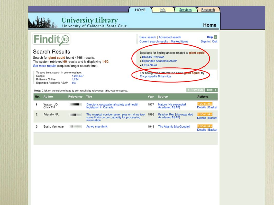 Metasearching Tomorrow Tailored portals for specific user needs or topic areas Targets created by libraries for specific purposes (e.g., focused crawling of web sites, harvesting of repositories) Useful results ranking and/or clustering Dynamic selection of sources based on user query Tailored portals for specific user needs or topic areas Targets created by libraries for specific purposes (e.g., focused crawling of web sites, harvesting of repositories) Useful results ranking and/or clustering Dynamic selection of sources based on user query