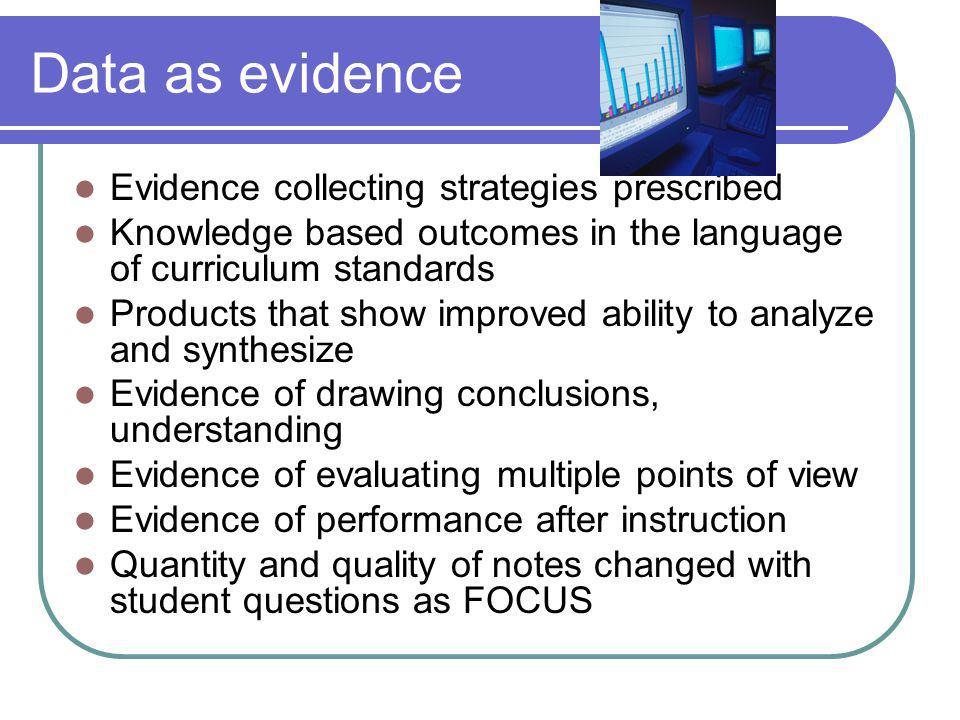 Data as evidence Evidence collecting strategies prescribed Knowledge based outcomes in the language of curriculum standards Products that show improve