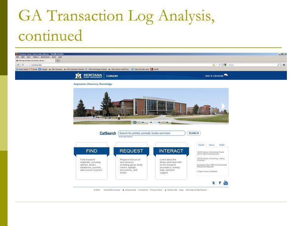 GA Transaction Log Analysis, continued