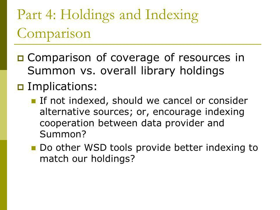 Part 4: Holdings and Indexing Comparison  Comparison of coverage of resources in Summon vs. overall library holdings  Implications: If not indexed,