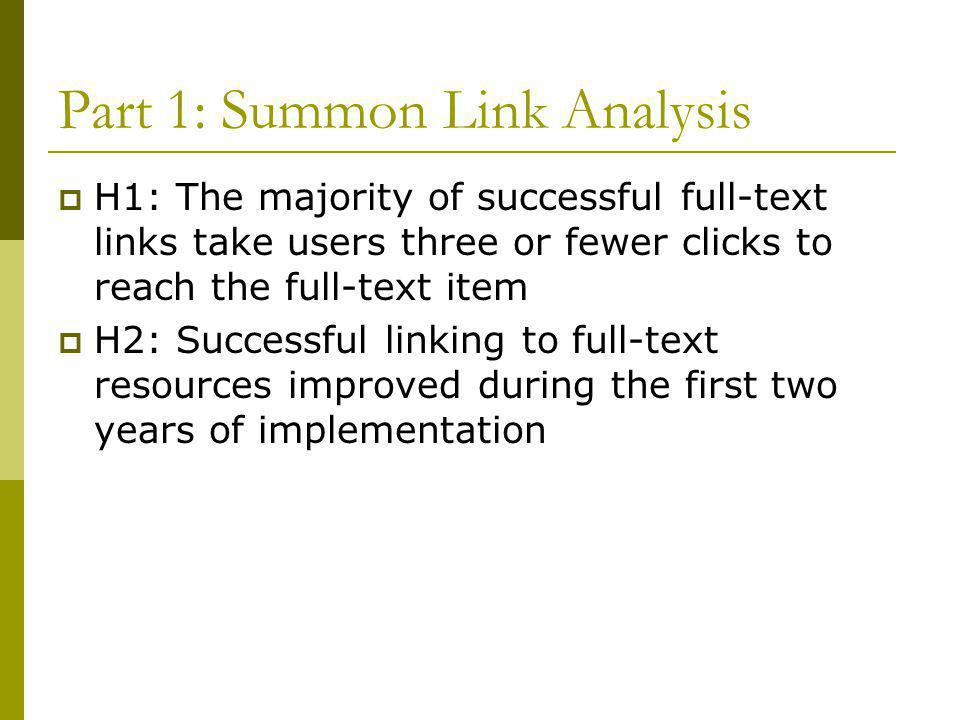 Link Analysis, continued  Methodology: 26 topics from actual Summon queries identified by member of research team  Subject-specific searches rather than known item  Categorized into full-text and non full-text links, successful retrievals, number of clicks  Fall 2010, fall 2011, summer 2012  First 25 results, for a total of 650 per time
