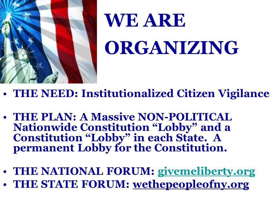 THE NEED: Institutionalized Citizen Vigilance THE PLAN: A Massive NON-POLITICAL Nationwide Constitution Lobby and a Constitution Lobby in each State.