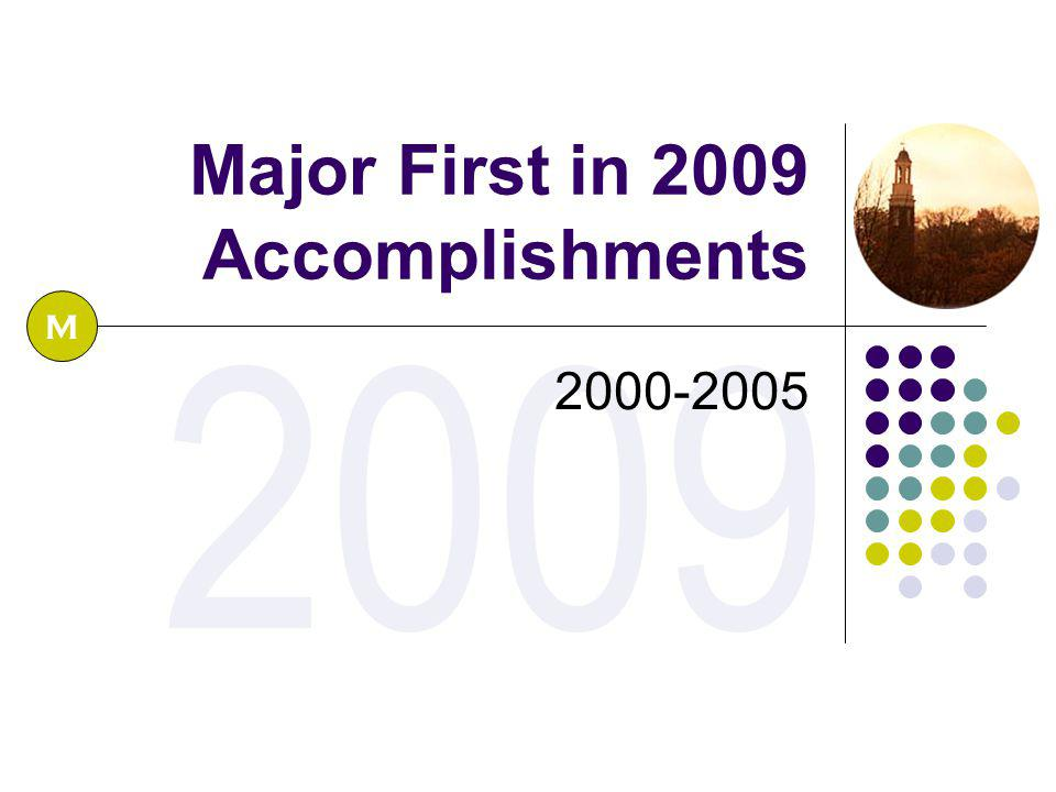 2009 Major First in 2009 Accomplishments 2000-2005 M