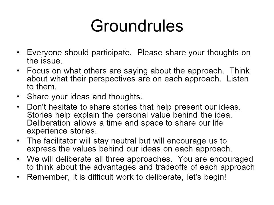 Groundrules Everyone should participate. Please share your thoughts on the issue.
