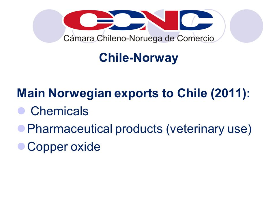 Chile-Norway Main Norwegian exports to Chile (2011): Chemicals Pharmaceutical products (veterinary use) Copper oxide