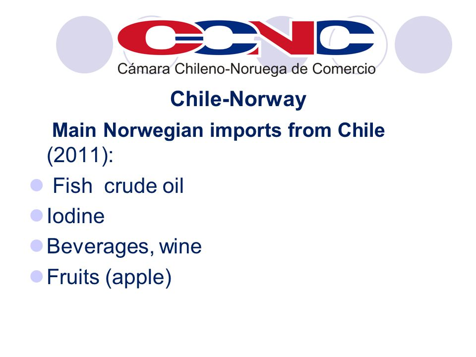 Chile-Norway Main Norwegian imports from Chile (2011): Fish crude oil Iodine Beverages, wine Fruits (apple)