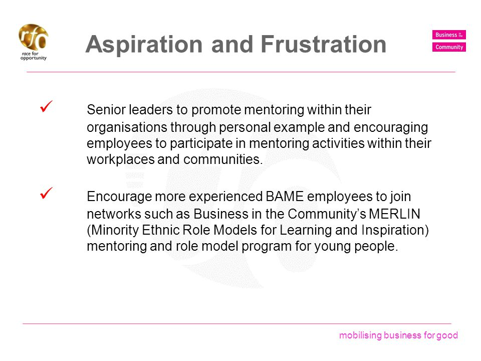 mobilising business for good Aspiration and Frustration Senior leaders to promote mentoring within their organisations through personal example and en
