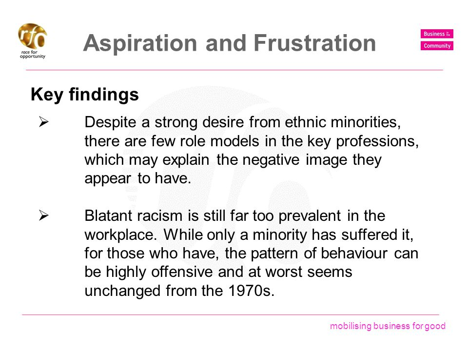 mobilising business for good Aspiration and Frustration Key findings  Despite a strong desire from ethnic minorities, there are few role models in th