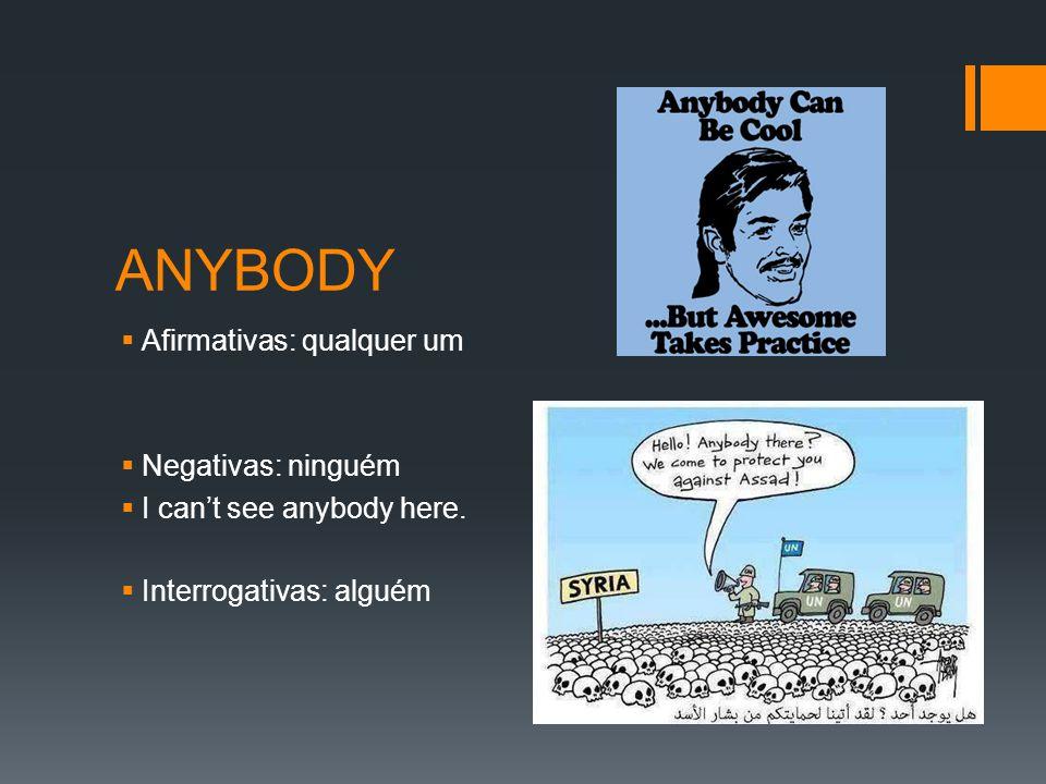 ANYBODY  Afirmativas: qualquer um  Negativas: ninguém  I can't see anybody here.