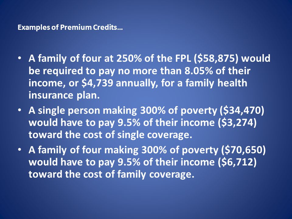 Examples of Premium Credits… A family of four at 250% of the FPL ($58,875) would be required to pay no more than 8.05% of their income, or $4,739 annually, for a family health insurance plan.