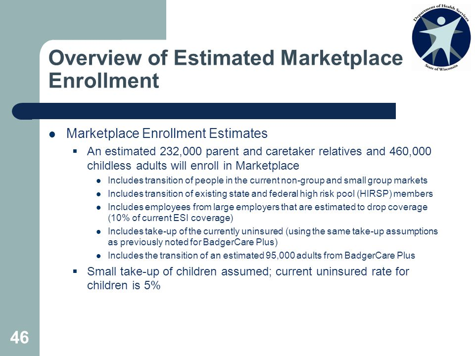 46 Overview of Estimated Marketplace Enrollment Marketplace Enrollment Estimates  An estimated 232,000 parent and caretaker relatives and 460,000 childless adults will enroll in Marketplace Includes transition of people in the current non-group and small group markets Includes transition of existing state and federal high risk pool (HIRSP) members Includes employees from large employers that are estimated to drop coverage (10% of current ESI coverage) Includes take-up of the currently uninsured (using the same take-up assumptions as previously noted for BadgerCare Plus) Includes the transition of an estimated 95,000 adults from BadgerCare Plus  Small take-up of children assumed; current uninsured rate for children is 5%