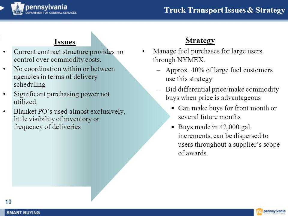 10 Truck Transport Issues & Strategy Issues Current contract structure provides no control over commodity costs.