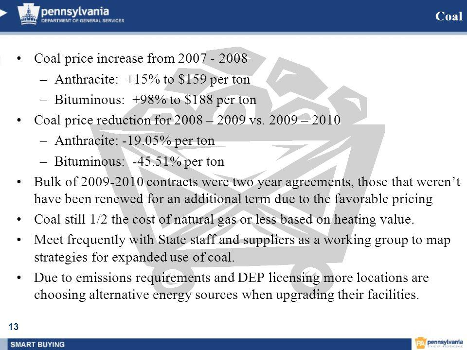 13 Coal Coal price increase from 2007 - 2008 –Anthracite: +15% to $159 per ton –Bituminous: +98% to $188 per ton Coal price reduction for 2008 – 2009 vs.