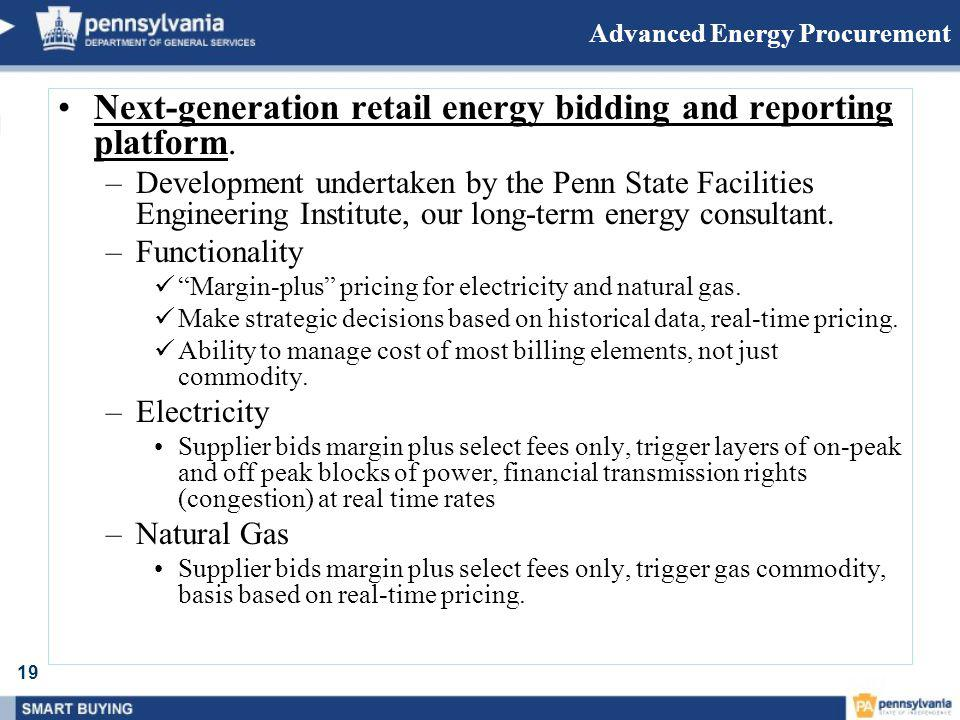 Advanced Energy Procurement Next-generation retail energy bidding and reporting platform.