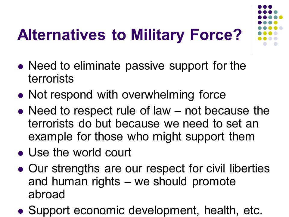 Alternatives to Military Force? Need to eliminate passive support for the terrorists Not respond with overwhelming force Need to respect rule of law –