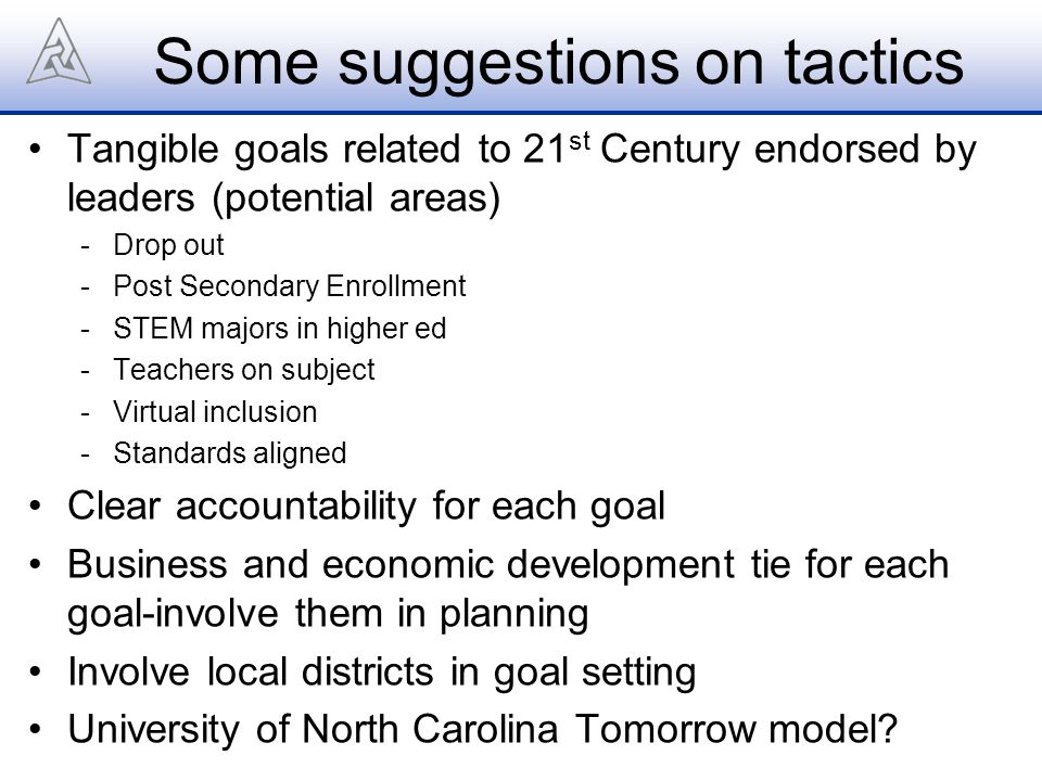 Some suggestions on tactics Tangible goals related to 21 st Century endorsed by leaders (potential areas) -Drop out -Post Secondary Enrollment -STEM majors in higher ed -Teachers on subject -Virtual inclusion -Standards aligned Clear accountability for each goal Business and economic development tie for each goal-involve them in planning Involve local districts in goal setting University of North Carolina Tomorrow model?
