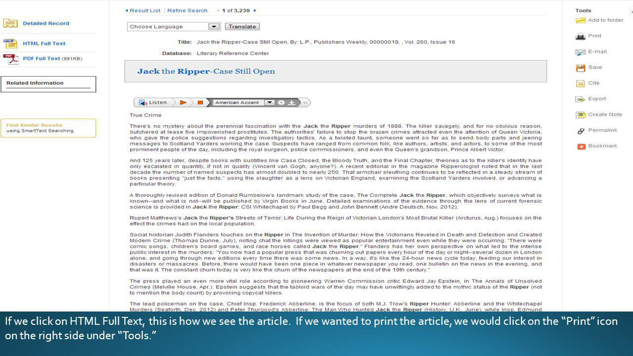 If we click on HTML Full Text, this is how we see the article.