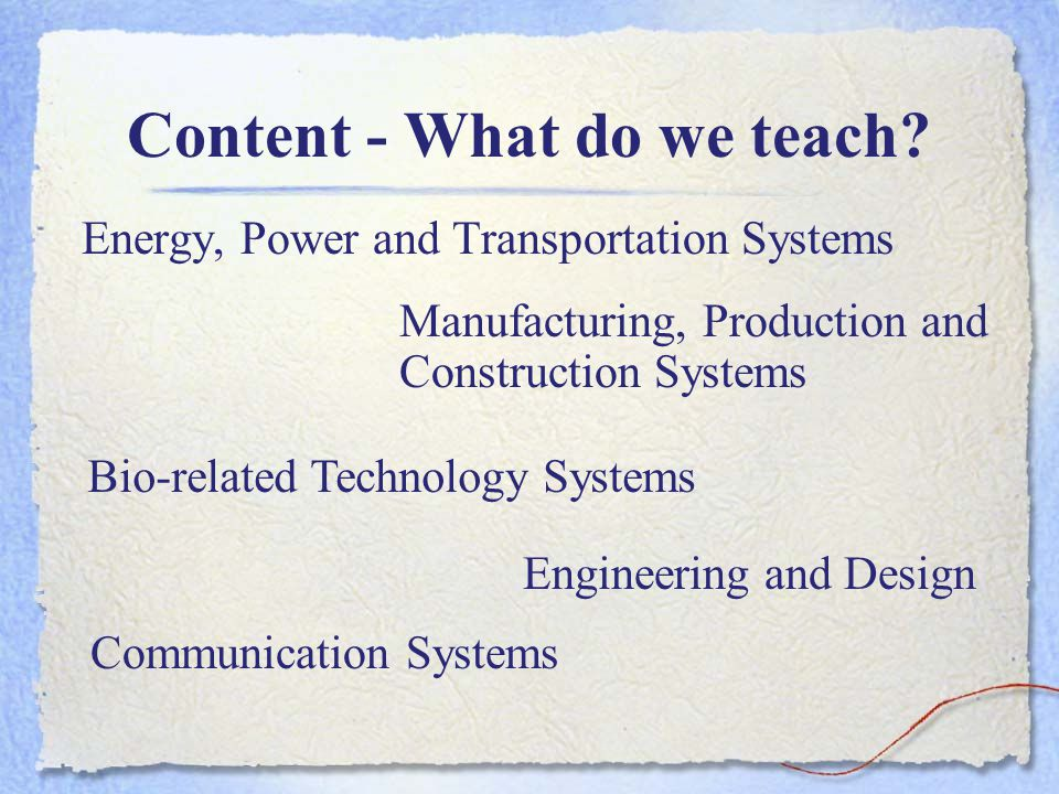 Content - What do we teach.