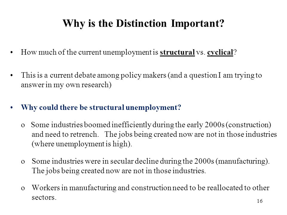 16 Why is the Distinction Important? How much of the current unemployment is structural vs. cyclical? This is a current debate among policy makers (an