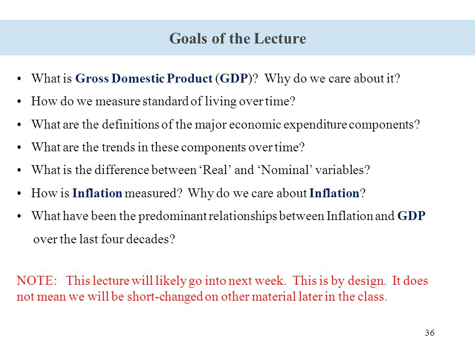 36 Goals of the Lecture What is Gross Domestic Product (GDP)? Why do we care about it? How do we measure standard of living over time? What are the de
