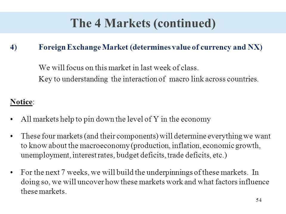 54 The 4 Markets (continued) 4)Foreign Exchange Market (determines value of currency and NX) We will focus on this market in last week of class. Key t