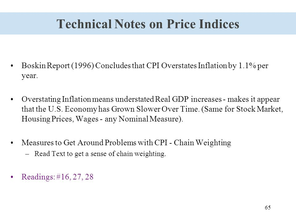 65 Technical Notes on Price Indices Boskin Report (1996) Concludes that CPI Overstates Inflation by 1.1% per year. Overstating Inflation means underst