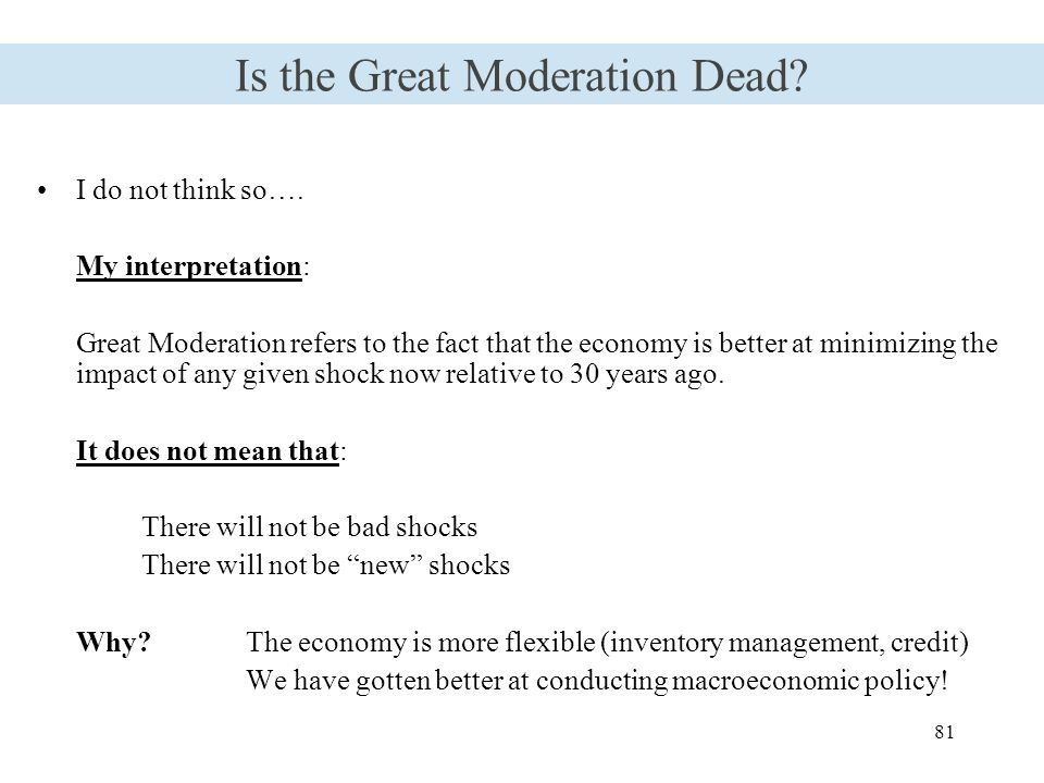 81 Is the Great Moderation Dead. I do not think so….