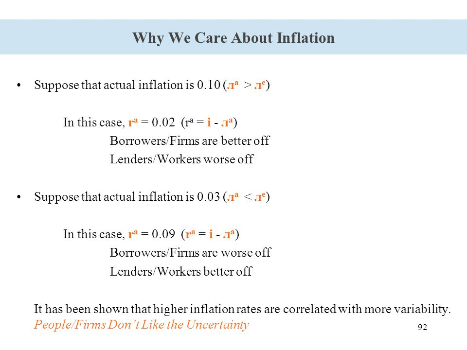 92 Why We Care About Inflation Suppose that actual inflation is 0.10 (л a > л e ) In this case, r a = 0.02 (r a = i - л a ) Borrowers/Firms are better