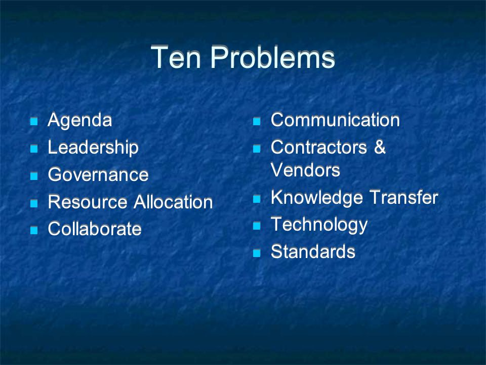 Ten Problems Agenda Leadership Governance Resource Allocation Collaborate Agenda Leadership Governance Resource Allocation Collaborate Communication Contractors & Vendors Knowledge Transfer Technology Standards