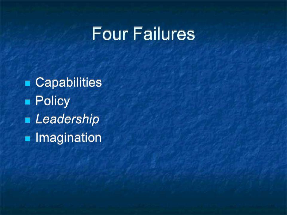 Four Failures Capabilities Policy Leadership Imagination Capabilities Policy Leadership Imagination