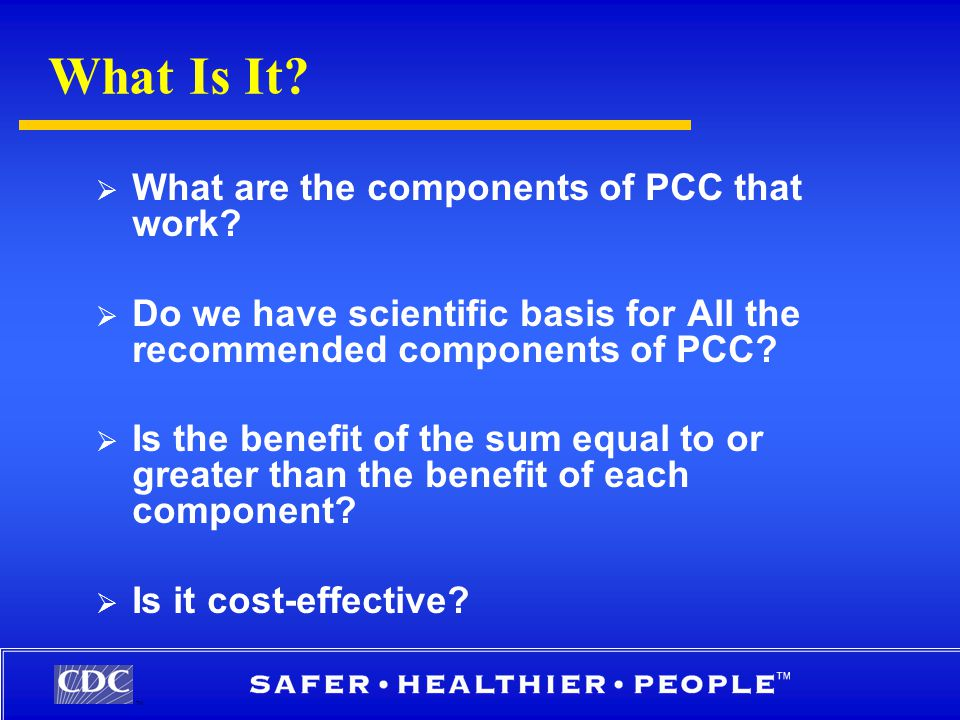 TM What Is It.  What are the components of PCC that work.