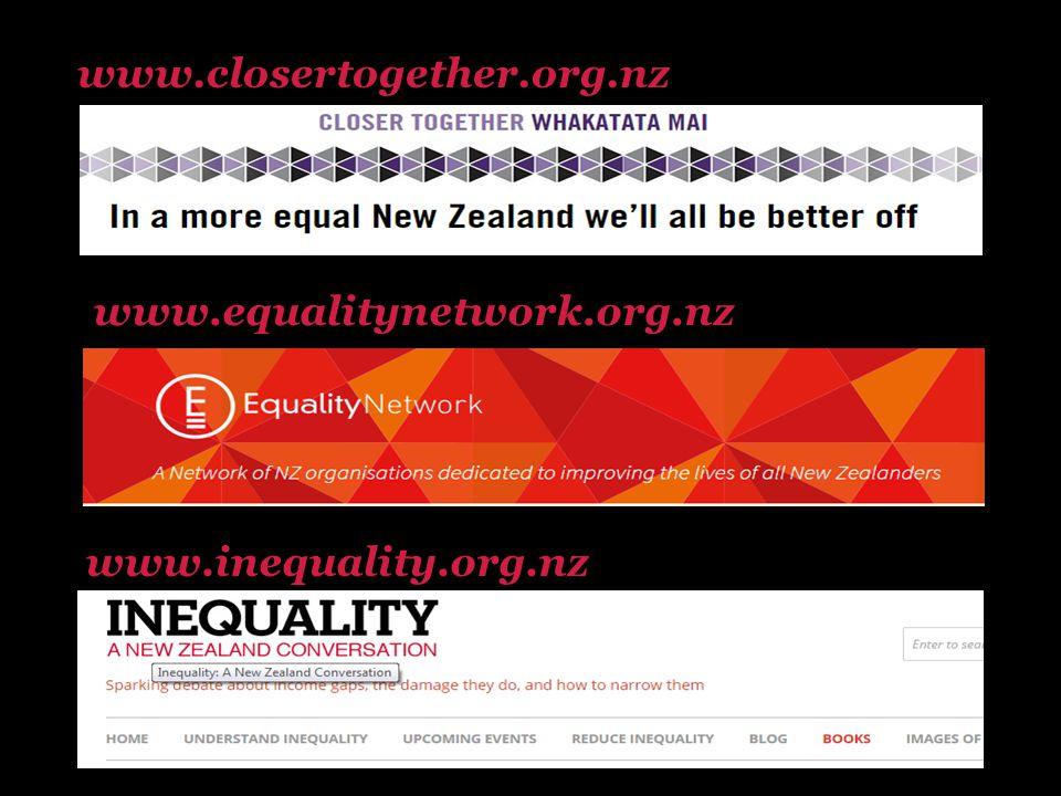 www.closertogether.org.nz www.inequality.org.nz www.equalitynetwork.org.nz