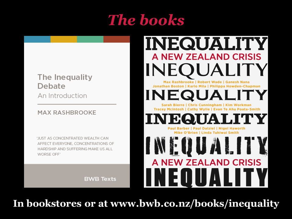 In bookstores or at www.bwb.co.nz/books/inequality The books