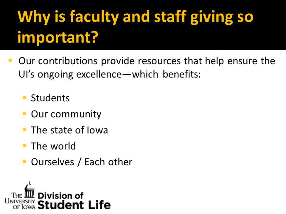 Why is faculty and staff giving so important.