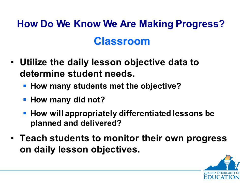 ClassroomClassroom Utilize the daily lesson objective data to determine student needs.