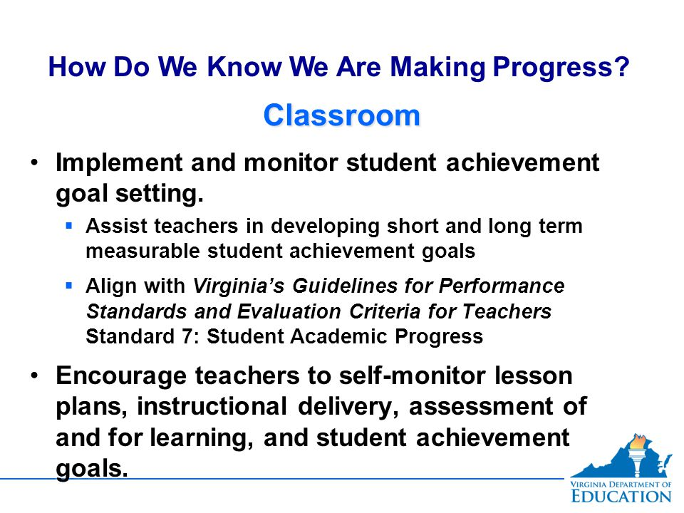 ClassroomClassroom Implement and monitor student achievement goal setting.