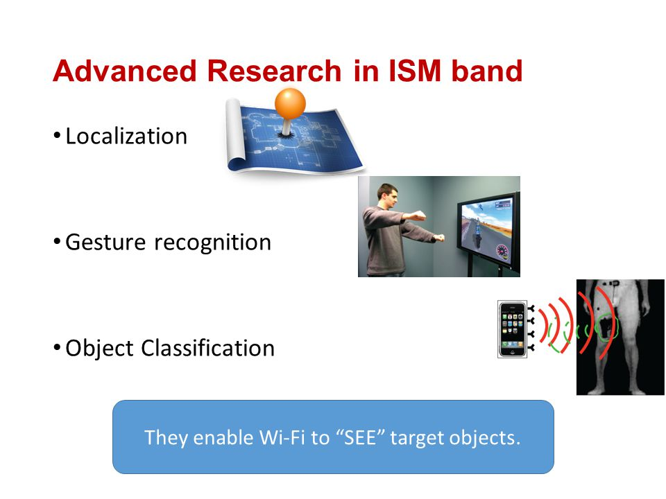 "Localization Gesture recognition Object Classification They enable Wi-Fi to ""SEE"" target objects. Advanced Research in ISM band"
