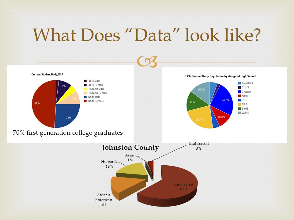  What Does Data look like 70% first generation college graduates