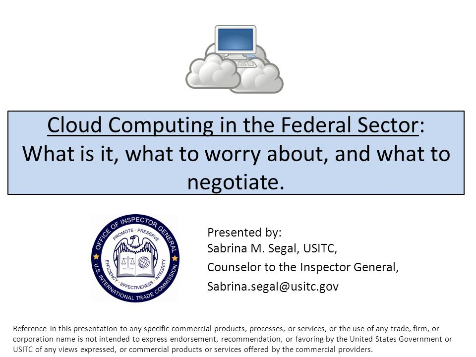 Cloud Computing in the Federal Sector: What is it, what to worry about, and what to negotiate.