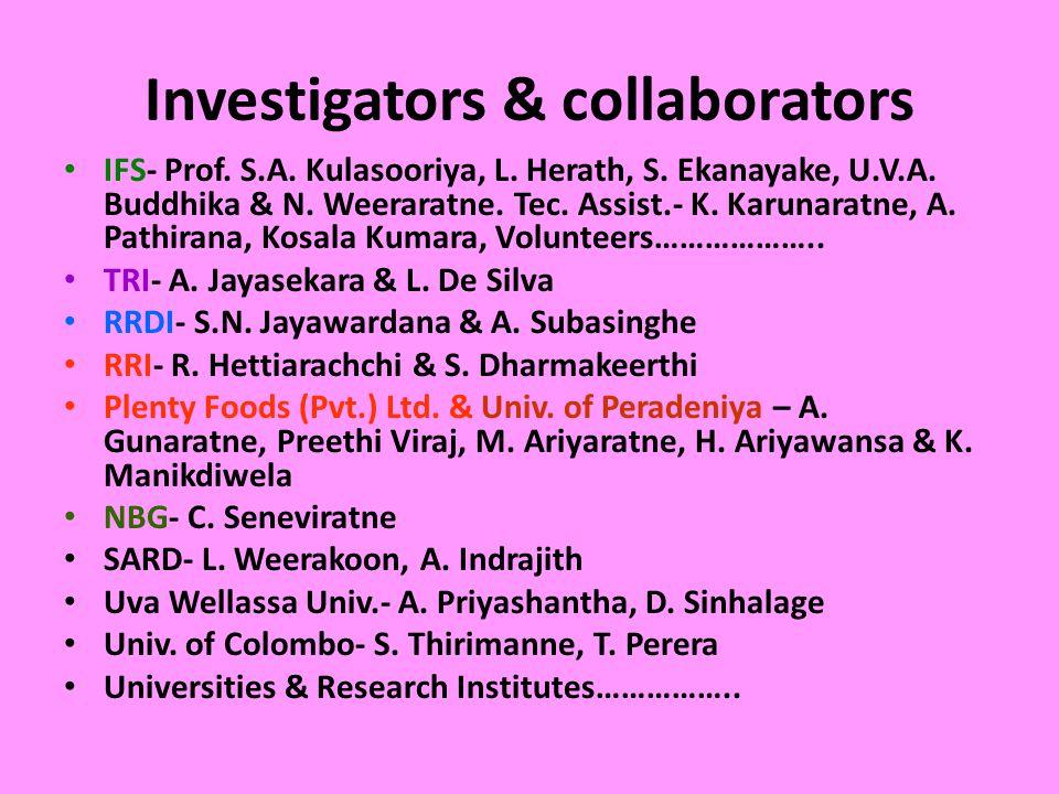 Investigators & collaborators IFS- Prof. S.A. Kulasooriya, L.