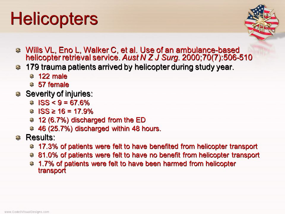 Helicopters Wills VL, Eno L, Walker C, et al. Use of an ambulance-based helicopter retrieval service. Aust N Z J Surg. 2000;70(7):506-510 179 trauma p